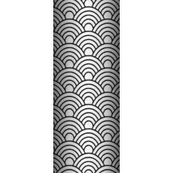 Tkanina geometryczne łuski czarne na białym tle