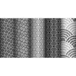 Tkanina geometryczne łuski białe na czarnym tle