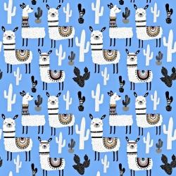 Tkanina w alpaki z kaktusami na niebieskim tle