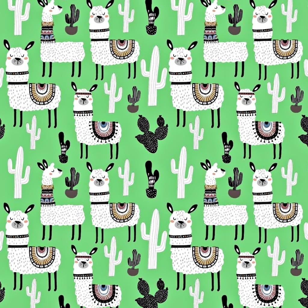 Tkanina w alpaki z kaktusami na zielonym tle