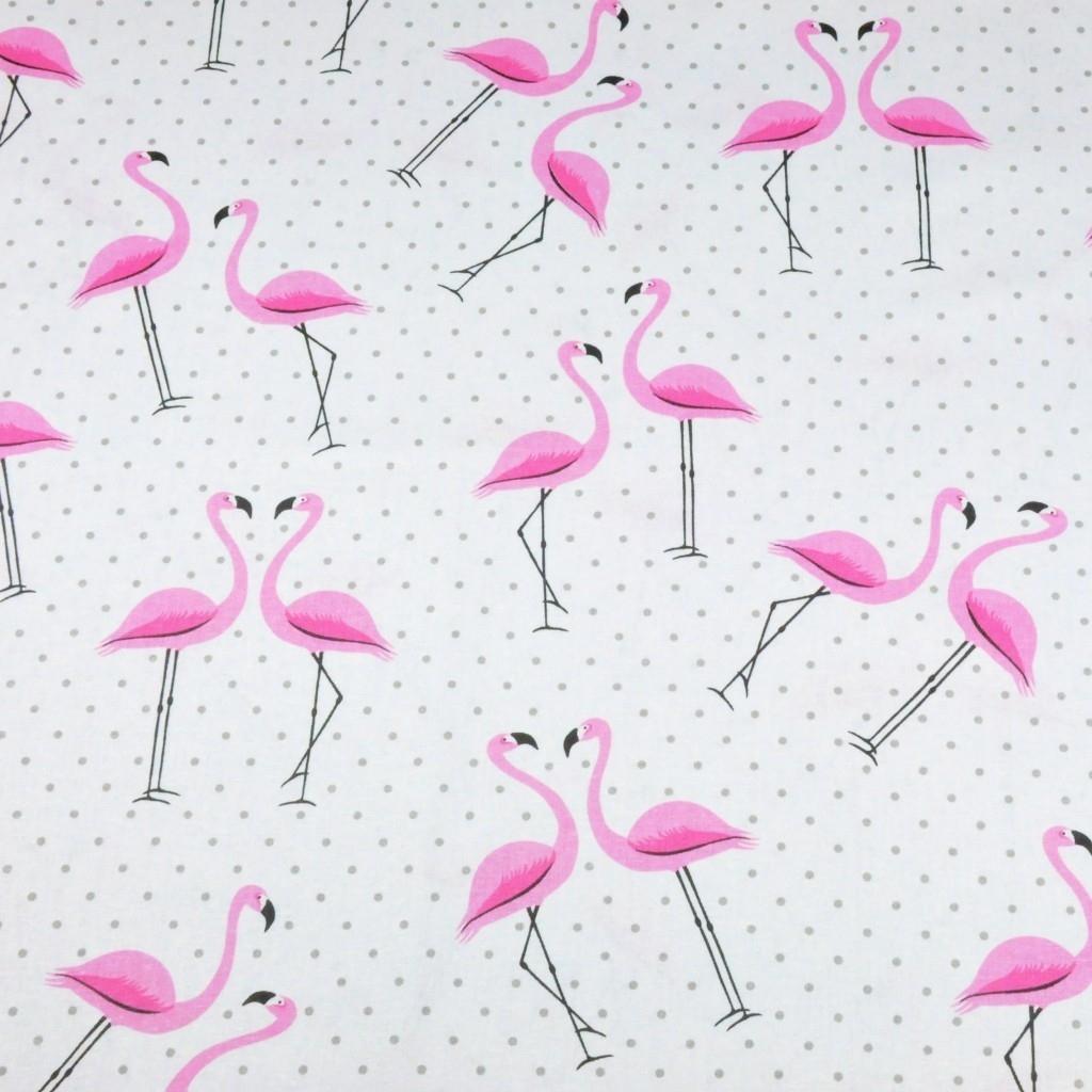 Tkanina w flamingi z kropkami szarymi na białym tle