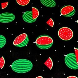 Tkanina w arbuzy zielone na czarnym tle