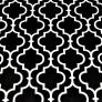 Tkanina Mozaika orientalna biała na czarnym tle