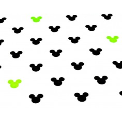 Tkanina w MIKI czarno zielone na białym tle
