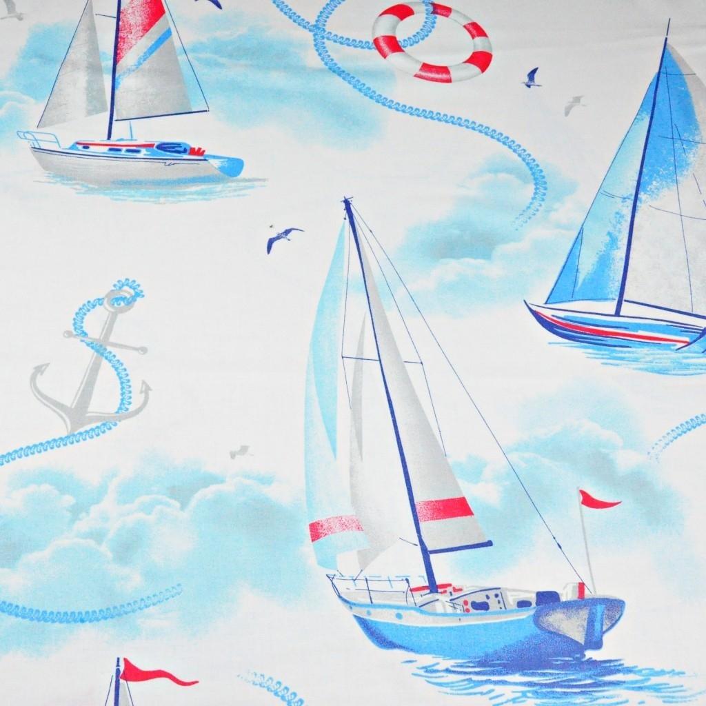 Tkanina w żaglówki niebieskie na białym tle