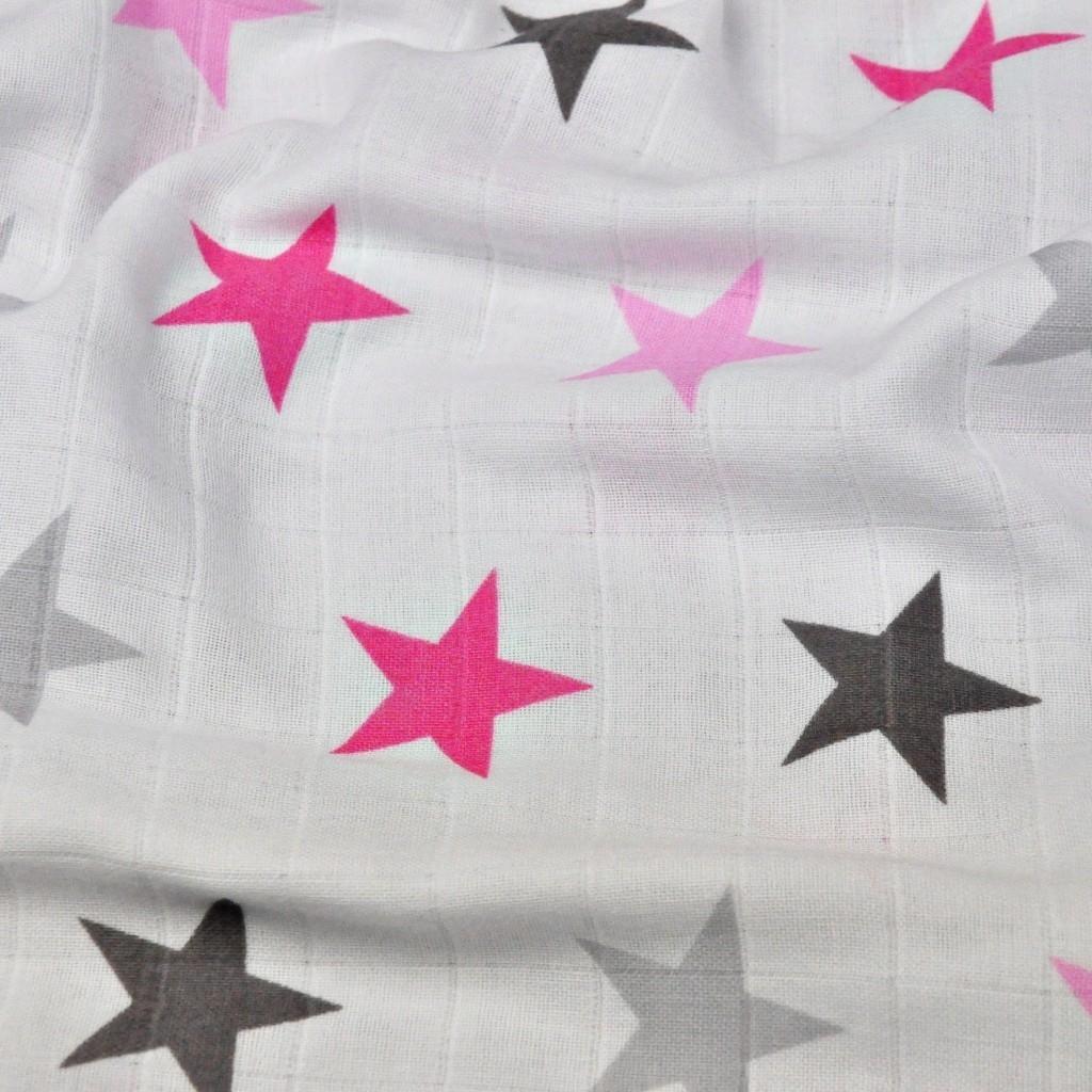 Tkanina Muślin Bawełniany różowo szare gwiazdki na białym tle