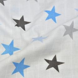 Tkanina Muślin Bawełniany niebiesko szare gwiazdki na białym tle