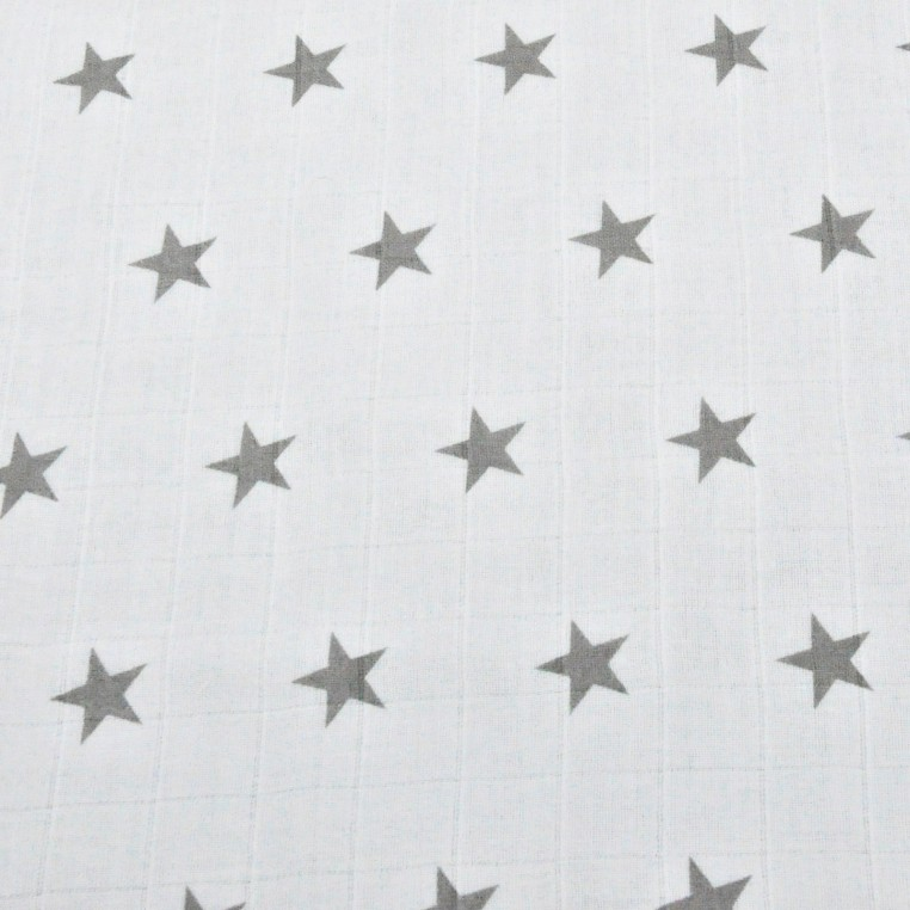 Tkanina Muślin bawełniany gwiazdki szare na białym tle