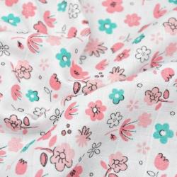 Tkanina Muślin bawełniany łączka różowo miętowa na białym tle