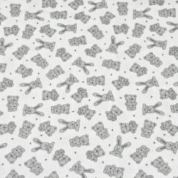 Tkanina Muślin bawełniany szare króliki na białym tle