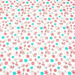 Tkanina łączka różowo miętowa na białym tle