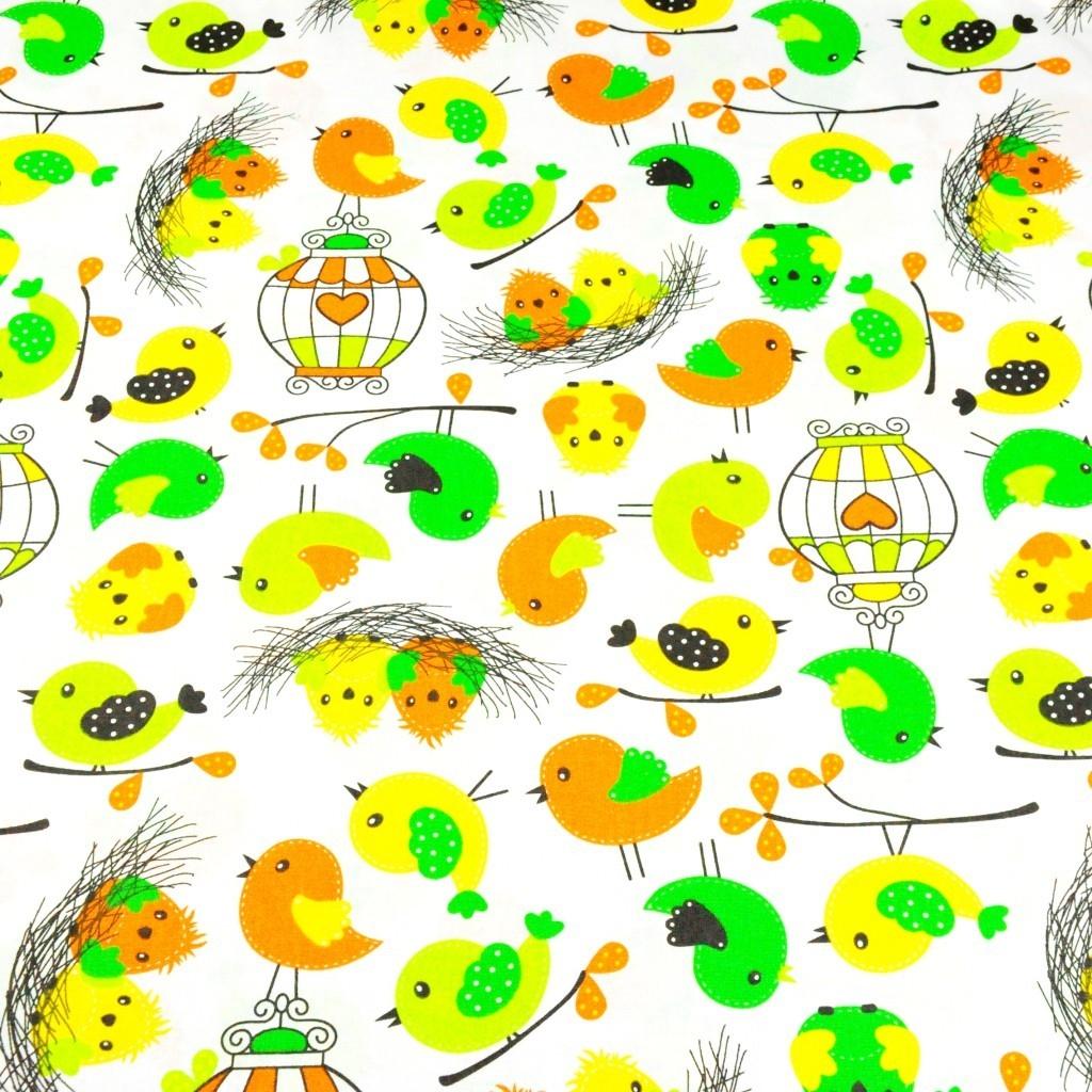 Tkanina w ptaszki wielkanocne na białym tle