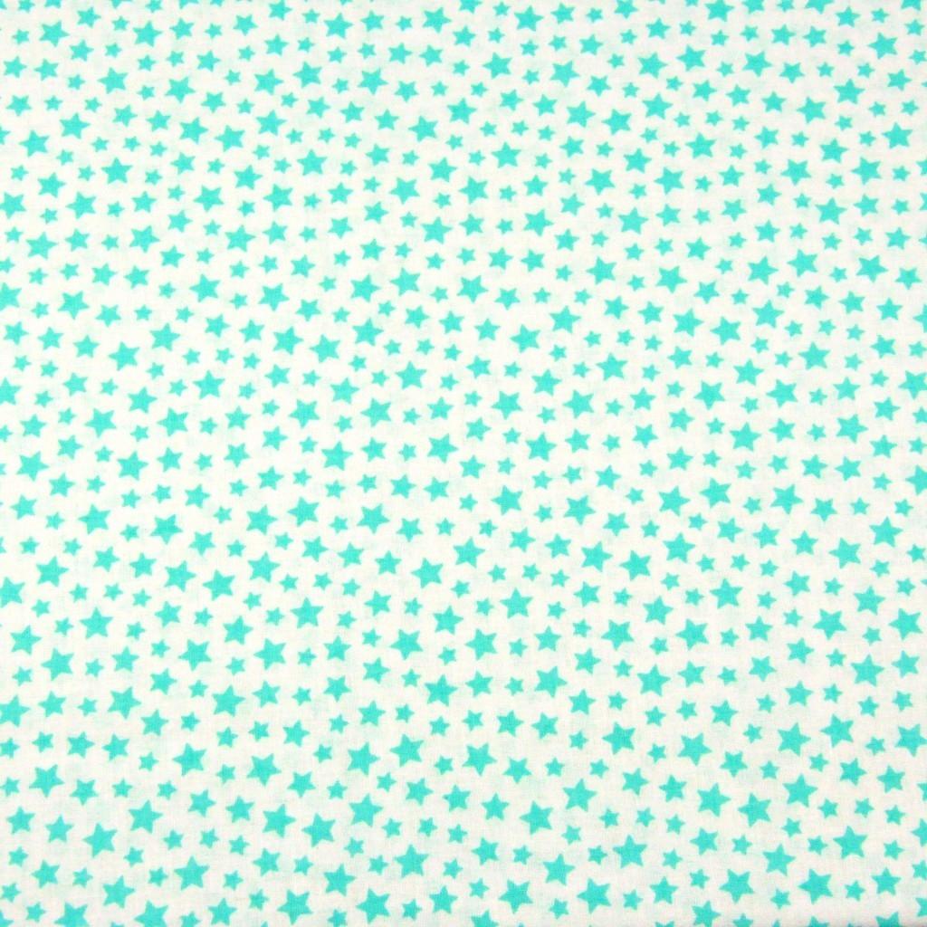 Tkanina gwiazdki MINI miętowe na białym tle