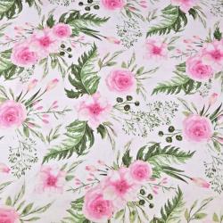 Tkanina kwiaty eustoma różowa na białym tle