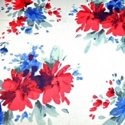 Tkanina kwiaty malowane niebiesko czerwone