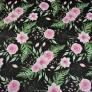 Tkanina kwiaty eustoma różowa na czarnym tle