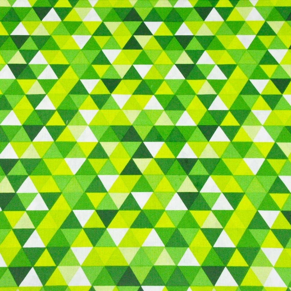 Tkanina w trójkąty małe zielono limonkowe na białym tle