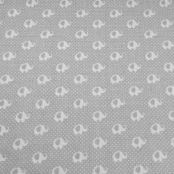 Tkanina słoniki MINI białe na szarym tle