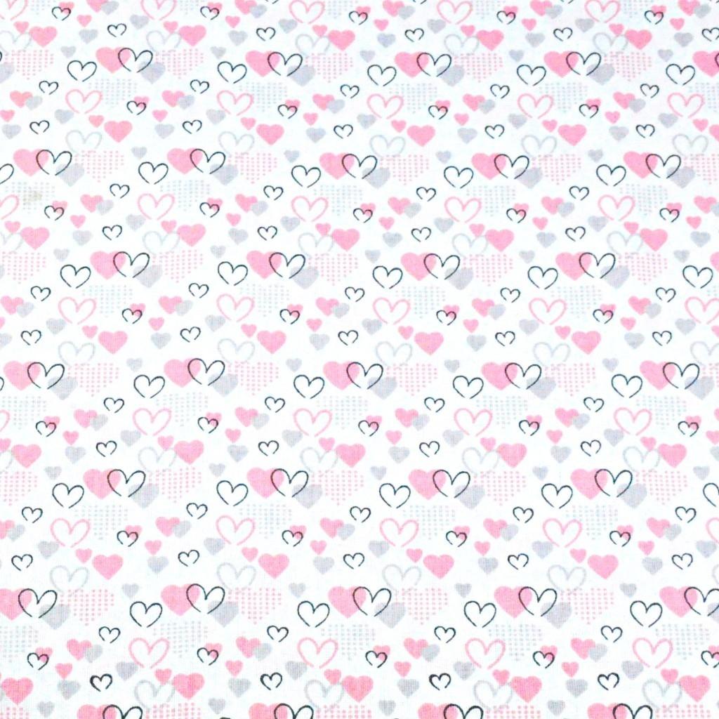 Tkanina serduszka MINI różowo szare na białym tle