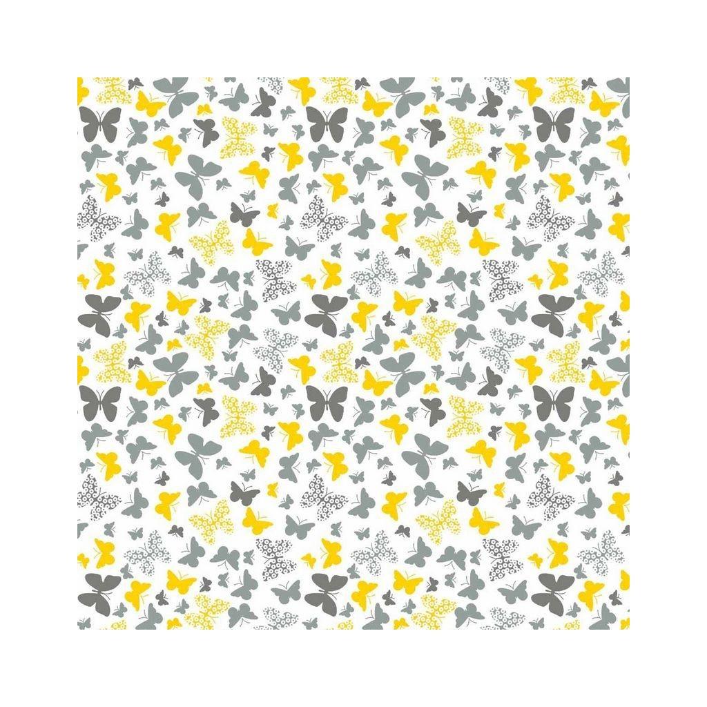 Tkanina motylki żółto szare na białym tle