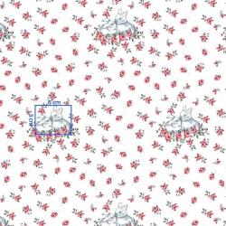 Tkanina króliki w różyczkach na białym tle
