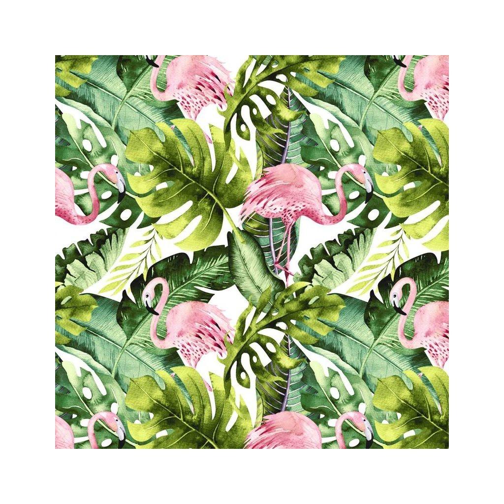 Tkanina flamingi w liściach monstera