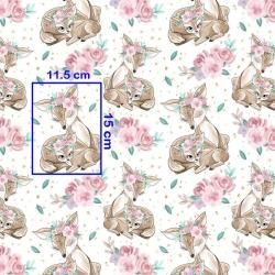 Tkanina sarenki w różach na białym tle