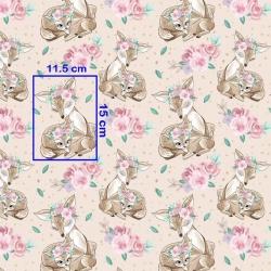 Tkanina sarenki w różach na beżowym tle