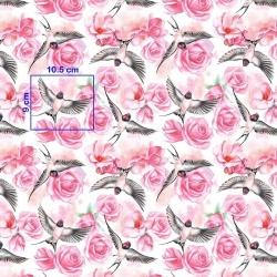 Tkanina jaskółki w różach na białym tle