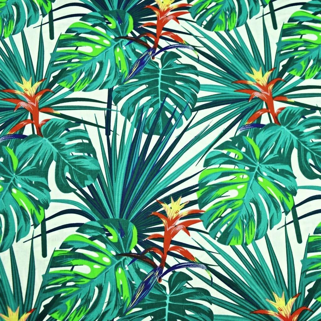 Tkanina w liście zielono niebieskie na białym tle