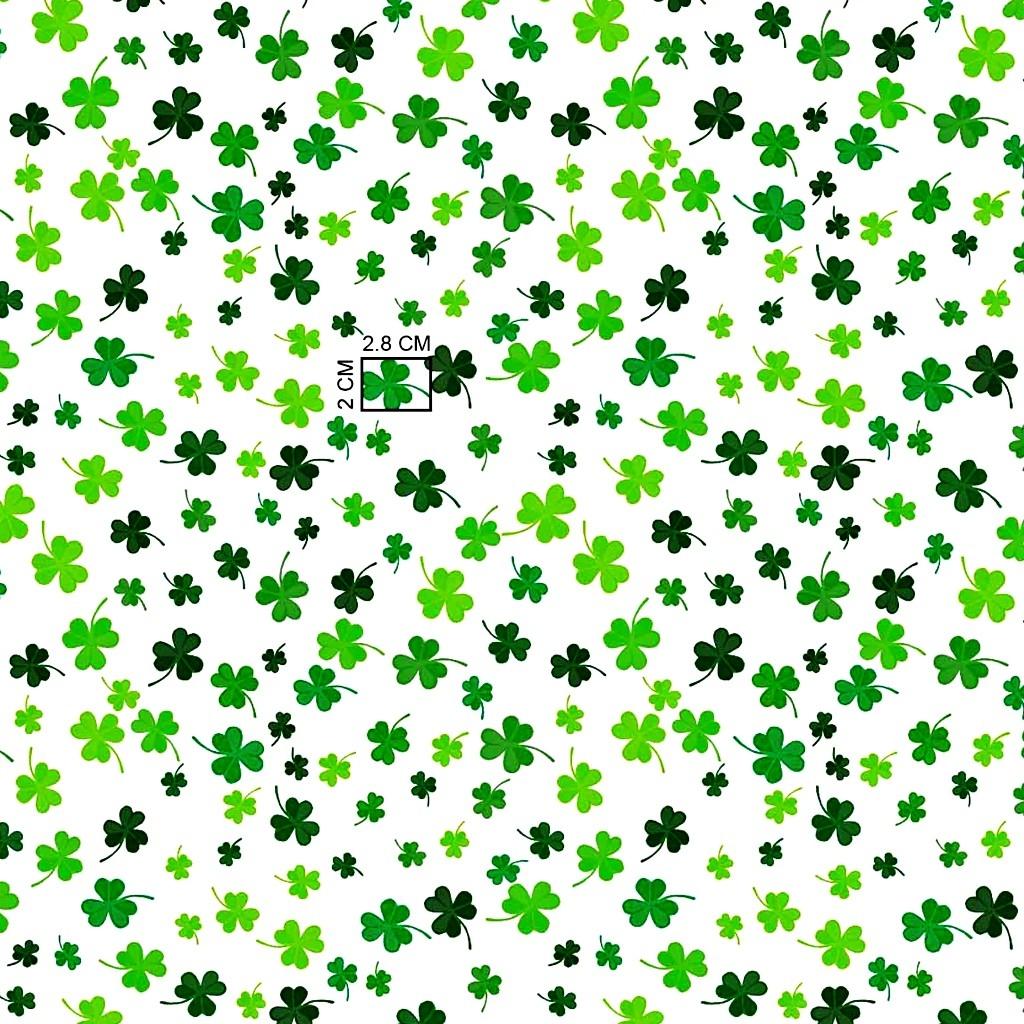 Tkanina w koniczyna zielona na białym tle