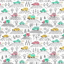 Tkanina w samochody kolorowe na górce na białym tle
