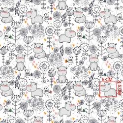 Tkanina w hipopotamy z kwiatkami na białym tle