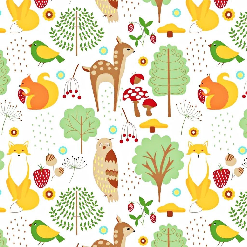 Tkanina w zwierzęta leśne kolorowe na białym tle
