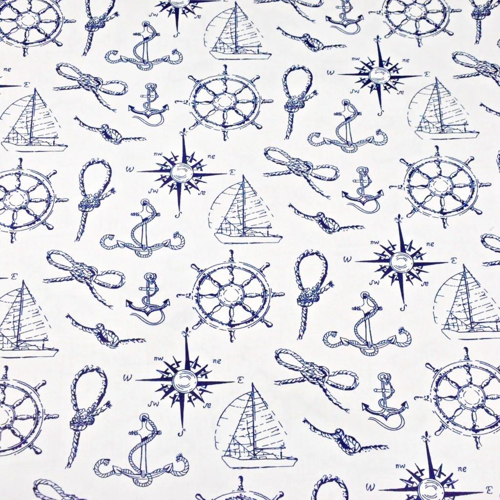 Tkanina w marynarskie granatowe wzory na białym tle