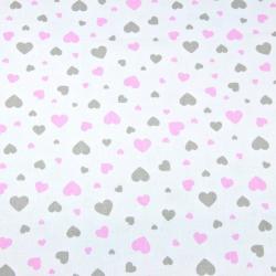 Tkanina serduszka różowo szare na białym tle
