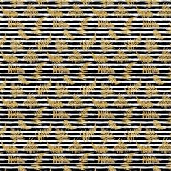 Tkanina wodoodporna złote liście paproci na pasach biało czarnych tle