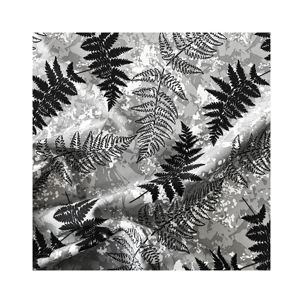 Tkanina wodoodporna liście paproci na szarym tle
