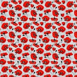 Tkanina wodoodporna czerwone maki na szarym tle