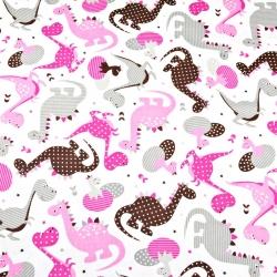 Tkanina dinozaury wzorzyste różowe na białym tle