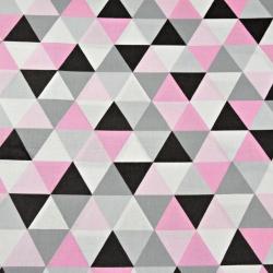 Tkanina w trójkąty duże szaro różowe na białym tle