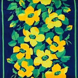 Imagén: Tkanina leżakowa kwiatki żółte na granatowym tle