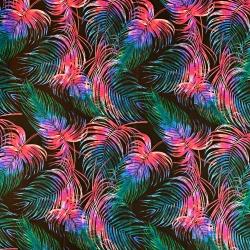Tkanina liście kolorowe na czarnym tle
