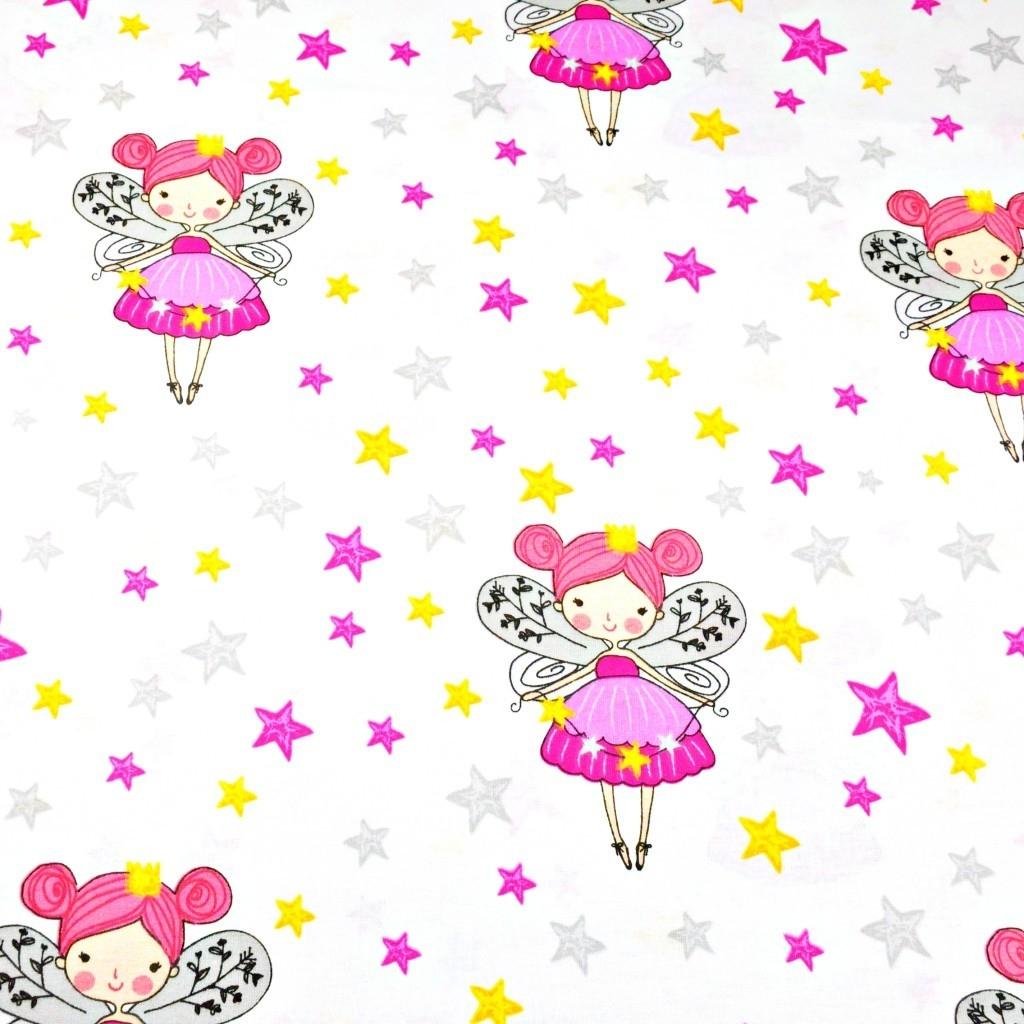Bawełna dzwoneczki z gwiazdkami na białym tle