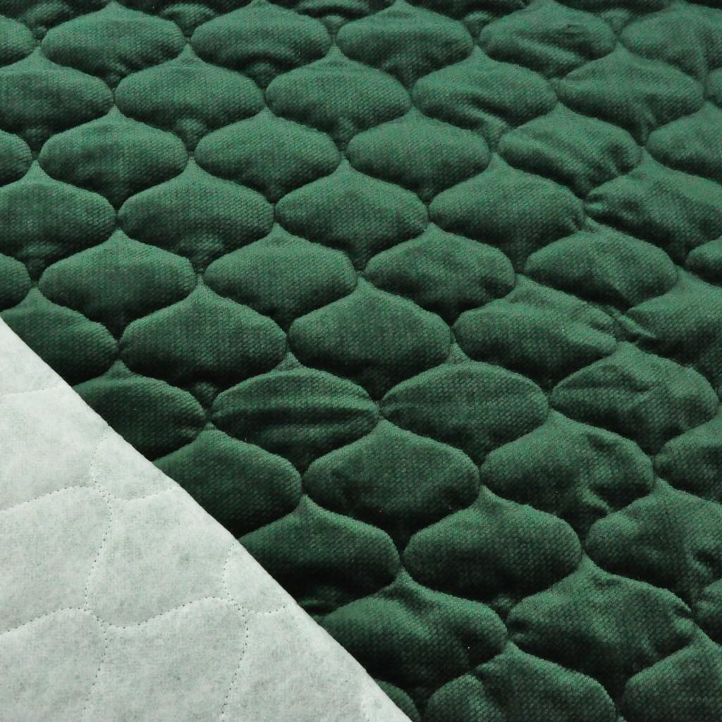 Velvet pikowany butelkowy zielony - bączki