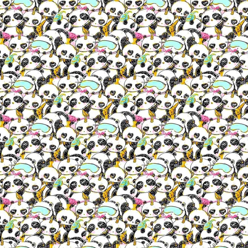 Tkanina złocona pandy śpiące na białym tle