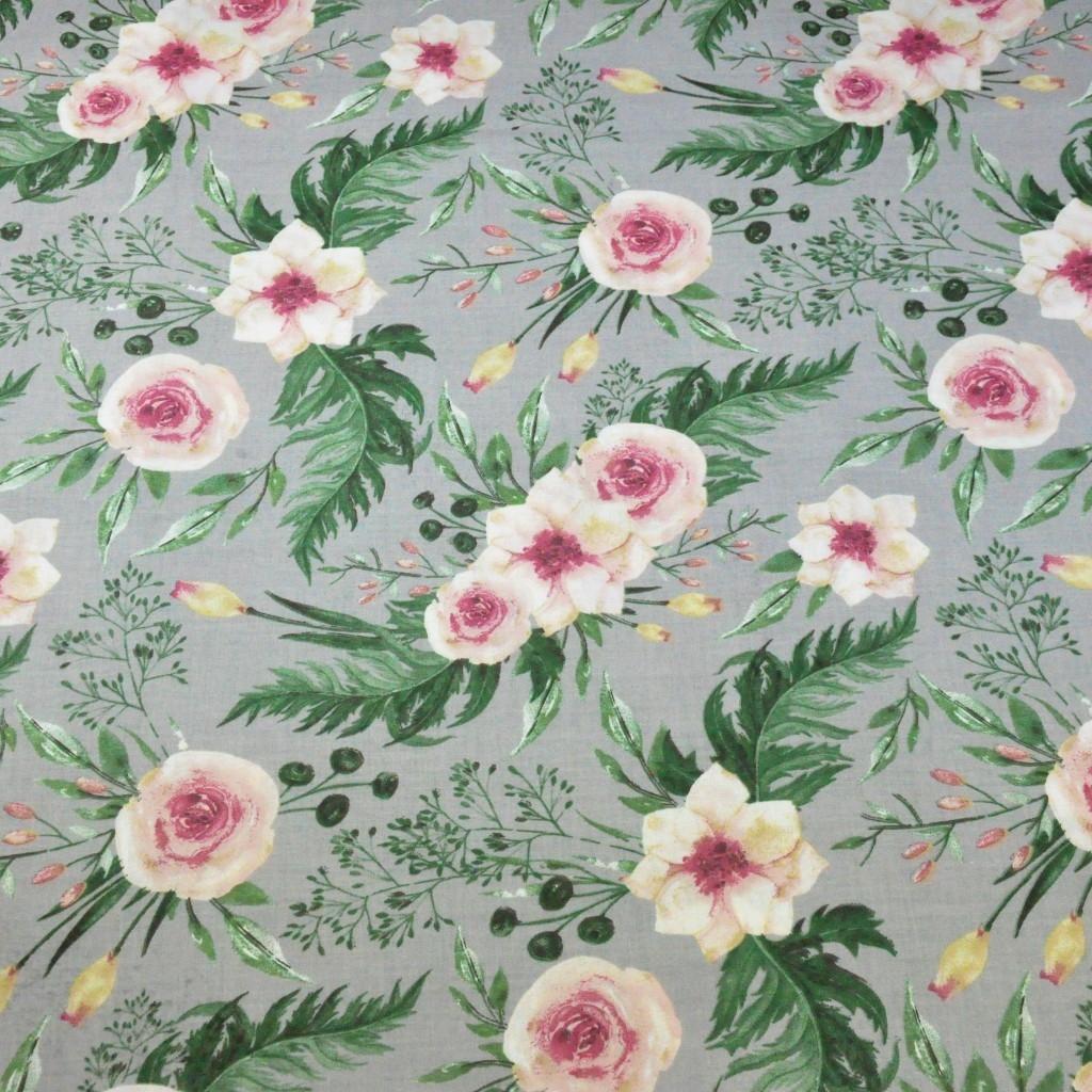 Tkanina kwiaty eustoma różowa na szarym tle