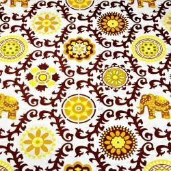 Tkanina wzór kwiatowy indyjski brązowy