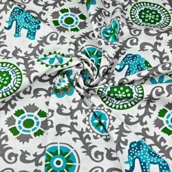 Tkanina wzór kwiatowy indyjski szary