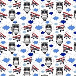Tkanina w misie piloci czerwono niebiescy na białym tle